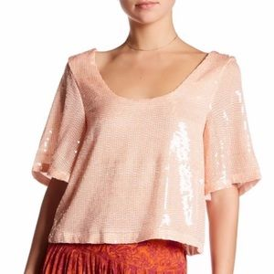 Free People Night Fever Sequin Top Pearl XS
